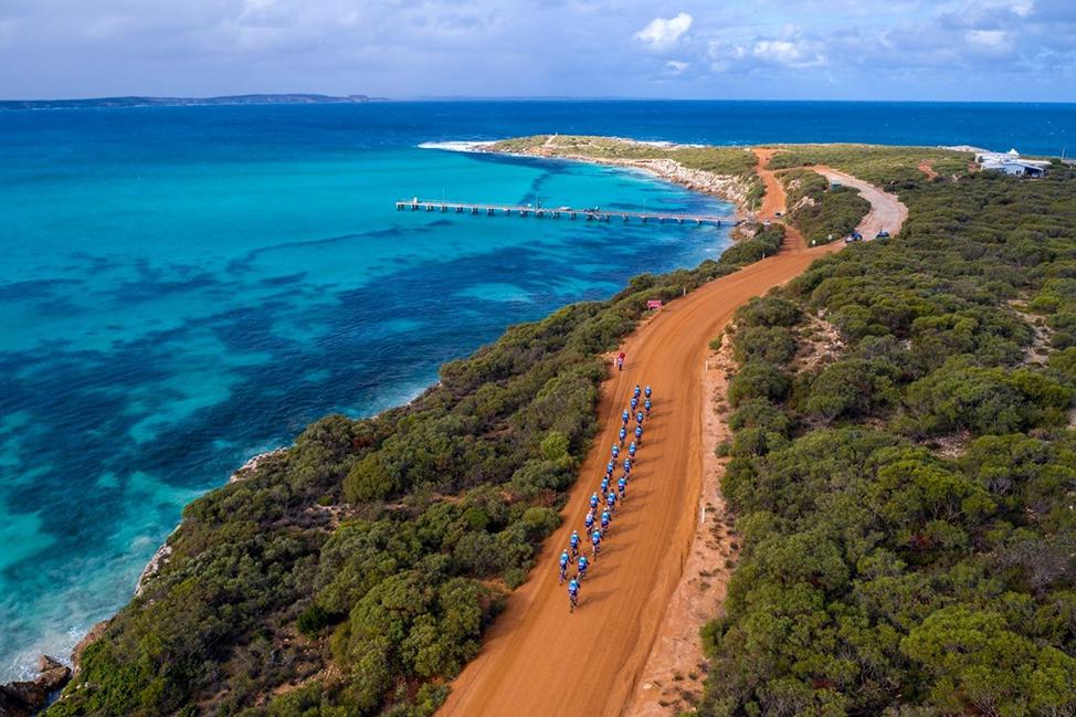A 2019 SADT Team peloton on Kangaroo Island last Tour