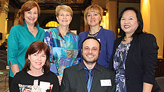 Eileen Giles and Maurizio Costabile (front), and Diana Collett, Patricia Kelly, Elena Sitnikova and Mei Sim.