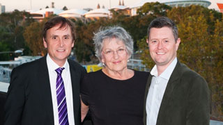 Professor Germaine Greer pictured with Profs Anthony Elliott and David Lloyd.