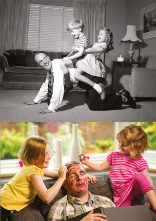 An idealised concept of parenting from the 1950s compared to the modern-day reality.
