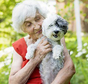 An older woman and her dog