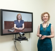 Susan Simpson in video-conference setting