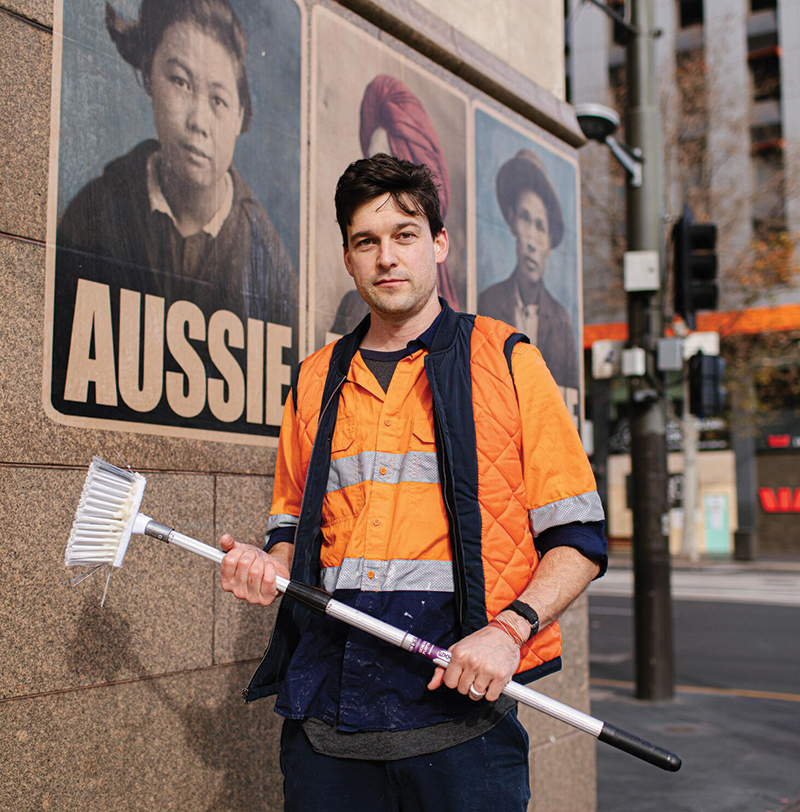 "Street artist Peter Drew is known for his ""Real Australians Say Welcome"" and ""Aussie"" campaign posters. Photo by Wade Whitington."