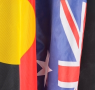 The Australian and the Aboriginal flags side by side