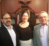 UniSA Prof Larry Lockshin, scholarship winner Ann-Marie Manno with renowned winemaker Wolf Blass