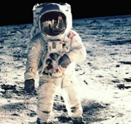 Astronaut Buzz Aldrin takes his first steps on the moon - image courtesy of NASA