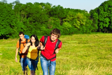 teenagers backpacking