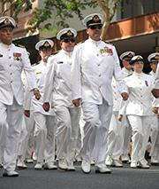 BRISBANE, AUSTRALIA - APRIL 25 : Naval personnel march along the route during Anzac day commemorations.Image: paintings / Shutterstock.com