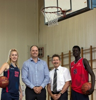 (L-R) Demi Skinner, Basketball SA CEO Mark Hubbard and UniSA's Head of School of Health Sciences Professor Roger Eston and Biar Garang