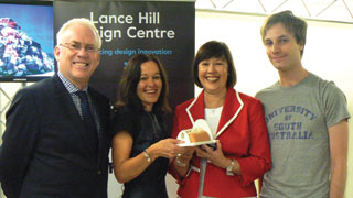 (L-R) Hills CEO Ted Pretty, the Centre leaders Leica Ison and Peta Jurd, and UniSA industrial design student Robert White.