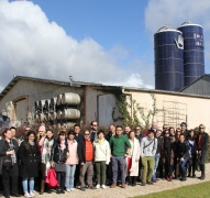Group of wine marketing students at Bird in Hand winery