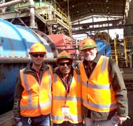 Dr Max Zanin, Jim Pae Lem (UniSA PhD student in minerals processing) with Prof Bill Skinner from UniSA's Ian Wark Research Institute onsite at OzMinerals Prominent Hill flotation operation/concentrator in South Australia.