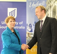 UniSA's Prof Marie Wilson with Unley Mayor Lachlan Clyne