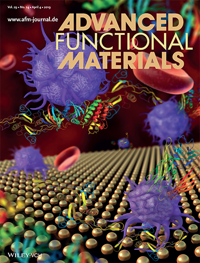 Work by UniSA PhD candidate Rahul M Visalakshan and colleagues on the cover of Advanced Functional Materials on 4 April 2019. The image shows nanotopography‐induced unfolding of fibrinogen modulates leukocyte binding and activation.