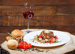 Image of food and wine on a table
