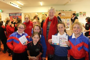 Christine Gibson with Geeveston school children