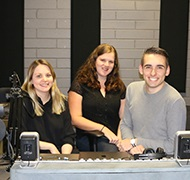 UniSA journalism student and podcast producer Chloe, Brad and Morgan
