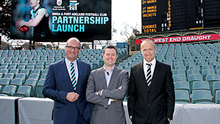 (L-R) Port Adelaide chairman David Koch, UniSA Vice Chancellor Professor David Lloyd and Port Adelaide high performance manager Darren Burgess.