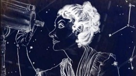 A drawing of a woman looking through a telescope