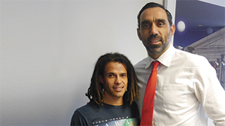 Scholarship recipient John Boxer with GO Foundation co-founder Adam Goodes.
