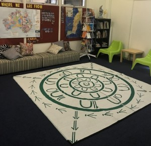 A Yarning Circle on a carpet is placed in front of a couch.