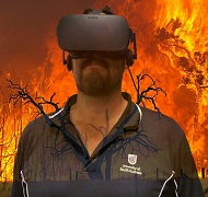 Shane Kakko wearing a virtual reality headset