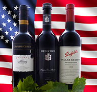 Image of Australian wine bottles with a backdrop US flag