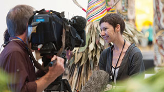 One of the inaugural Samstag scholarship awardees, Ruth McDougall in Brisbane for the 7th Asia Pacific Triennial of Contemporary Art, 2012. Photo courtesy Queensland Art Gallery / Gallery of Modern Art.