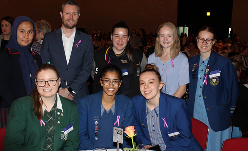 Professor David Lloyd with the 2018 STEM Girls who were our invited guests at the 2019 International Women's Day Breakfast held at Adelaide Convention Centre