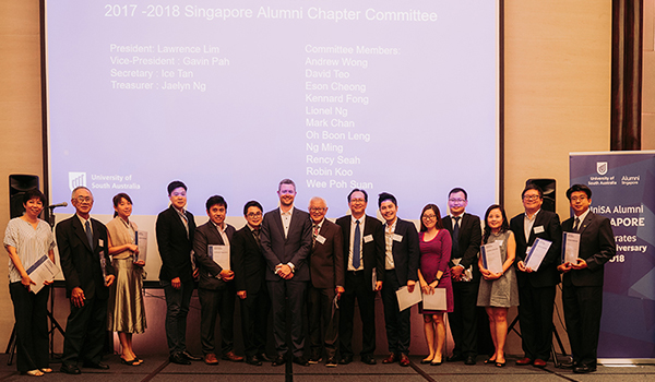 Singapore Alumni Chapter committee members with VC, David Lloyd