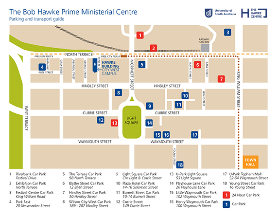 Map of the Hawke Centre