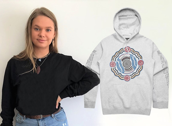 The artwork on the Australian Indigenous Mentoring Experience (AIME) hoodie design for 2019 was designed by former UniSA AIME mentee Iteka Ukarla Sanderson-Bromley.
