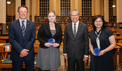 UniSA Deputy Vice-Chancellor: Research and Innovation Professor Simon Beecham, Dr Marnie Winter, SA Governor Hieu Van Le AC and Dr Jia Tina Du at the Young Tall Poppy of Science Awards on 29 July.