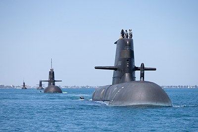 Collins Class Submarines, HMAS Collins, HMAS Farncomb, HMAS Dechaineux and HMAS Sheean in formation while transiting through Cockburn Sound, Western Australia. Photo by Royal Australian Navy.
