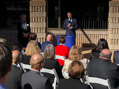 Vice Chancellor Professor David Lloyd at the opening of a rural health clinic providing podiatry, physiotherapy and other allied health services for people on the east coast of the Eyre Peninsula.