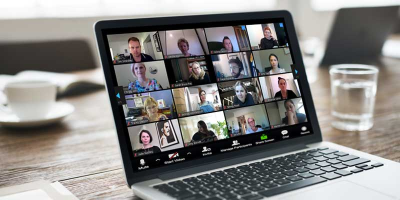 Video conferencing on a laptop